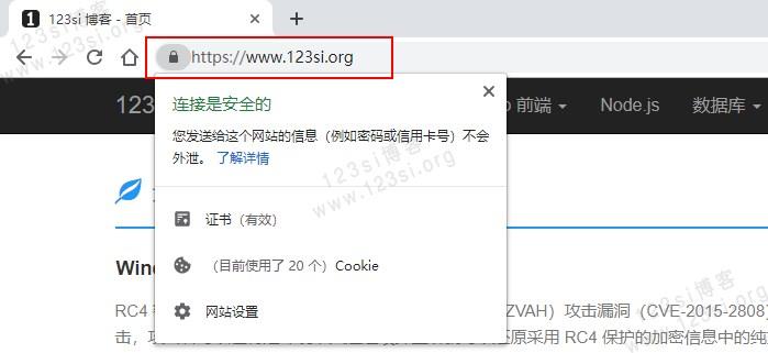 Chrome 浏览器 HTTPS 安全标识