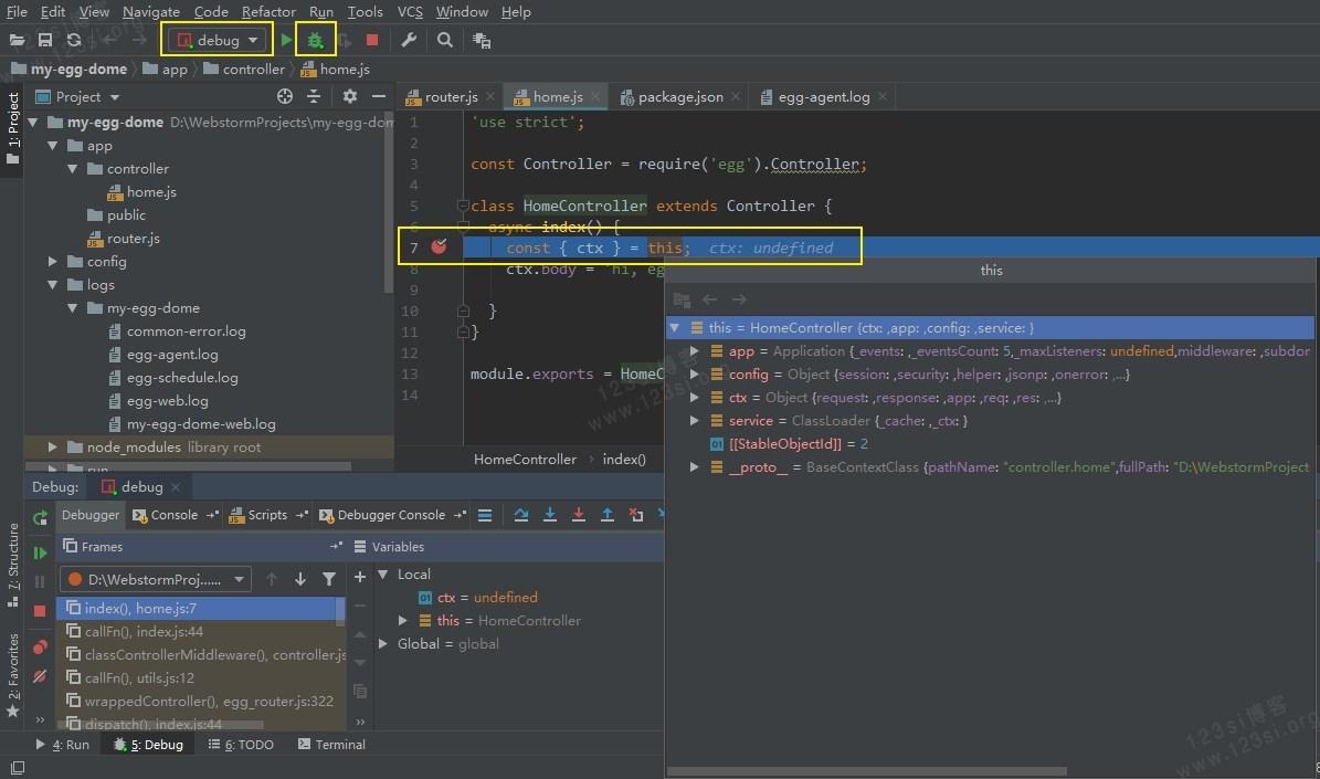 使用 WebStorm 自带的调试工具